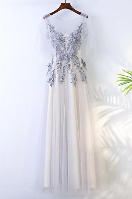 A Line Round Neck Short Sleeves Lace Prom Dresses With Appliques, Lace Formal Dresses, BW9708