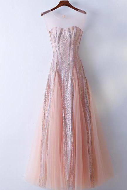 Custom Made Round Neck Lace Pink Prom Dresses, Lace Pink Formal Dresses, Evening Dresses, BW9709