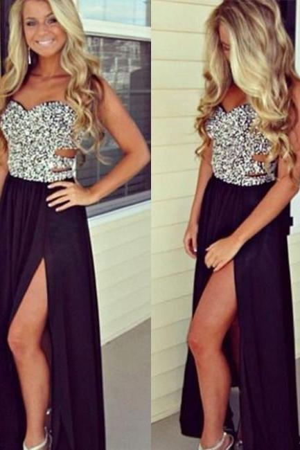Sweetheart Neck Beaded Black Prom Dresses, Black Formal Dresses, BW9711