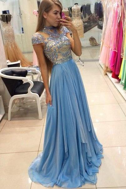 Charming Prom Dress,High-Neck Prom Dress,A-Line Prom Dress,Chiffon Prom Dress,Beading Evening Dress,PD1700001