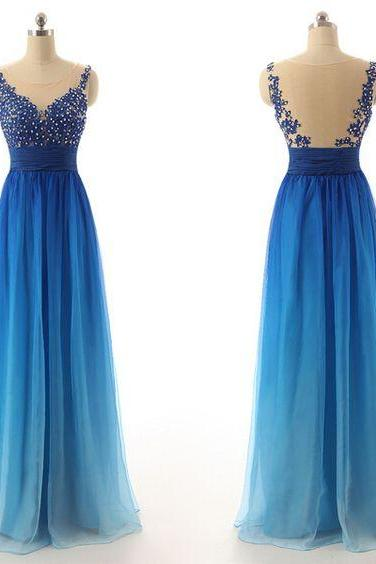 Charming Prom Dress,O-Neck Prom Dress,Noble Prom Dress,Chiffon Prom Dress,Gradient Color Evening Dress,PD1700025