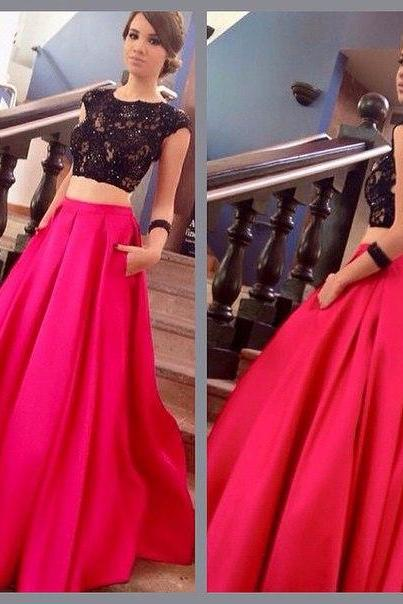 Charming Prom Dress,Two Pieces Prom Dress,A-Line Prom Dress,Lace Prom Dress,Backless Evening Dress,PD1700050