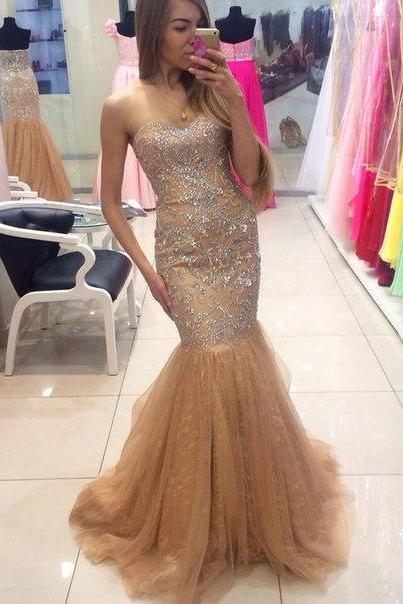 Charming Prom Dress,Sweetheart Prom Dress,Mermaid Prom Dress,Tulle Prom Dress,Noble Beading Prom Dress,PD1700067