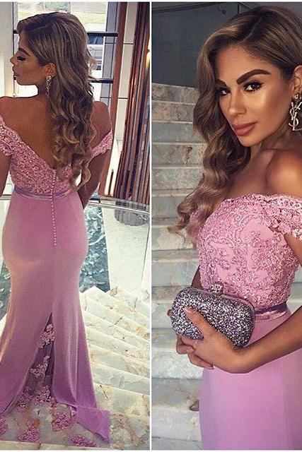 Charming Prom Dress,Off The Shoulder Prom Dress,Mermaid Prom Dress,Appliques Prom Dress,Backless Prom Dress,PD1700072
