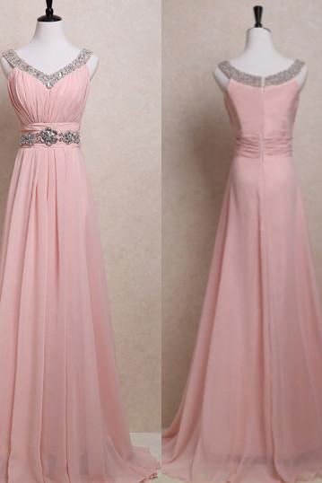 Charming Prom Dress,Chiffon Prom Dress,V-Neck Prom Dress,Beading Prom Dress,Brief Prom Dress,PD1700090