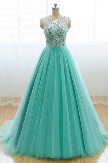 Charming Prom Dress,Tulle Prom Dress,O-Neck Prom Dress,Lace Prom Dress,A-Line Prom Dress,PD1700097
