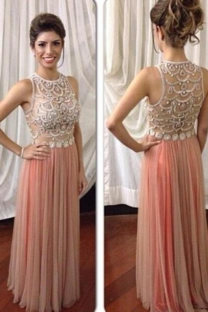 Charming Prom Dress,Chiffon Prom Dress,O-Neck Prom Dress,Beading Prom Dress,A-Line Prom Dress,PD1700099