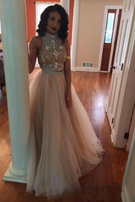 Charming Prom Dress,Tulle Prom Dress,A-Line Prom Dress,High-Neck Prom Dress,Beading Prom Dress,Noble Prom Dress,PD1700122