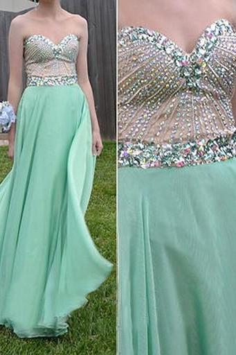 Charming Prom Dress,Chiffon Prom Dress,A-Line Prom Dress,Sweetheart Prom Dress,Beading Prom Dress,PD1700125