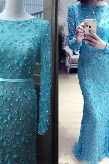 Charming Prom Dress,Tulle Prom Dress,Appliques Prom Dress,O-Neck Prom Dress,Long-Sleeves Prom Dress,PD1700136