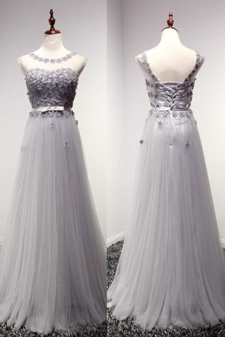 High Quality Prom Dress,A-Line Prom Dress,Tulle Prom Dress,O-Neck Prom Dress, Appliques Prom Dress,PD1700188