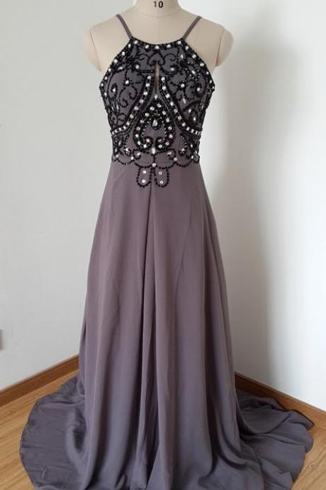High Quality Prom Dress,A-Line Prom Dress,Chiffon Prom Dress,Backless Prom Dress, Beading Prom Dress,PD1700226
