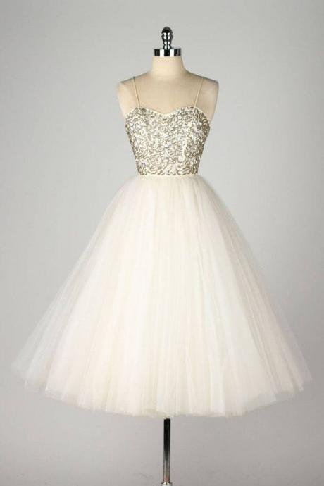 Custom Made Spaghetti Strap Tulle Evening Dress, Homecoming Dresses, Wedding Dress