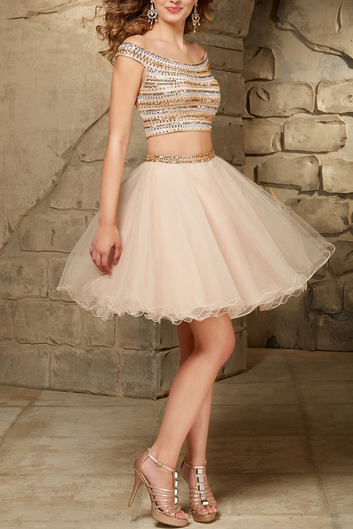 Charming Homecoming Dress,2 Pieces Homecoming Dress,Beading Homecoming Dress, Short Prom Dress,PD1700394