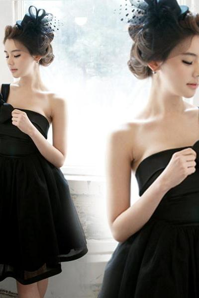 High Quality Graduation Dress,Short Graduation Dress,Satin Graduation Dress,One-Shoulder Graduation Dress,PD1700448