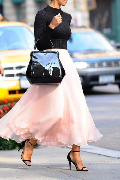 Long Skirt, Fashion Street Style Skirt,Tulle Skirt,Charming Women Skirt,Spring Autumn Skirt ,A-Line Skirt,PD1700577