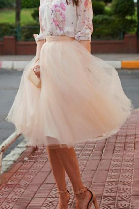 Half-Length Skirt, Fashion Street Style Skirt,Tulle Skirt,Charming Women Skirt,Spring Autumn Skirt,PD1700578