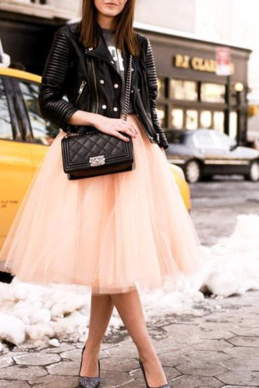 Mid-Length Skirt, Street Style Skirt,Tulle Skirt,Charming Women Skirt,Spring Autumn Skirt ,A-Line Skirt,PD1700585