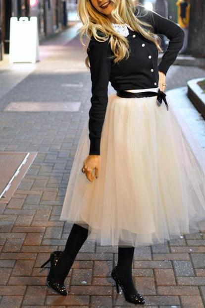 Fashion Skrirt , Street Style Skirt,Tulle Skirt,Charming Women Skirt,Spring Autumn Skirt,PD1700587