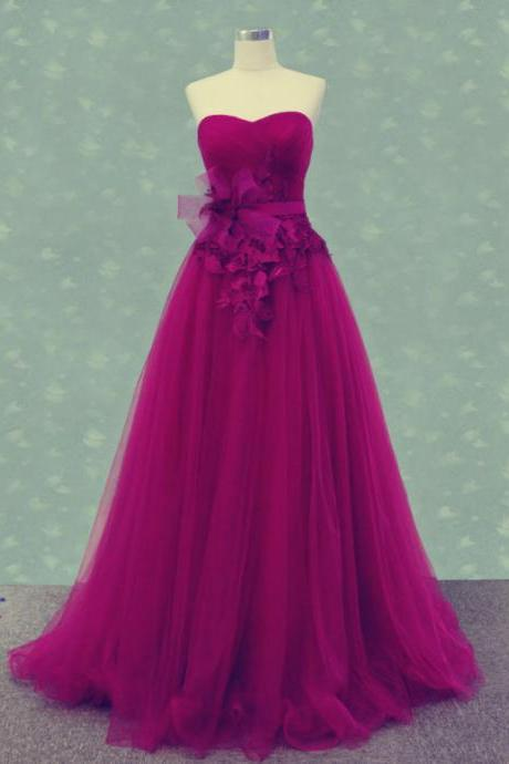 Sweetheart Prom Dress,Tulle Prom Dress,A-Line Prom Dress,Charming Prom Dress,Prom Dress With Flowers,PD1700646