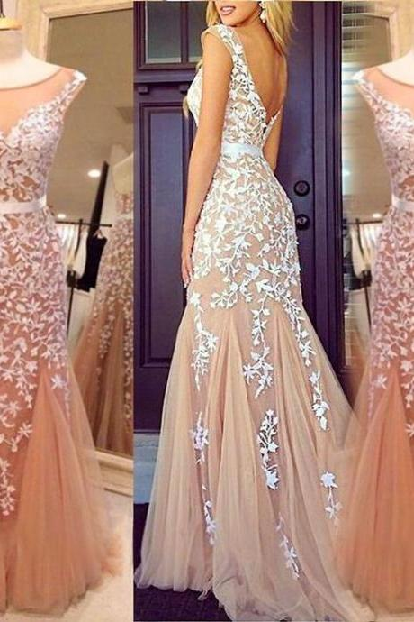 Appliques Prom Dress,Sexy Prom Dress,Tulle Prom Dress,Mermaid Prom Dress,PD1700658