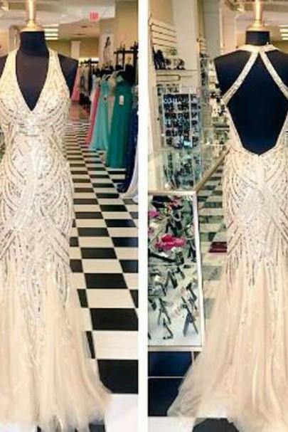 Glitter Prom Dress,Halter Prom Dress,V-Neck Prom Dress,Mermaid Prom Dress,PD1700683