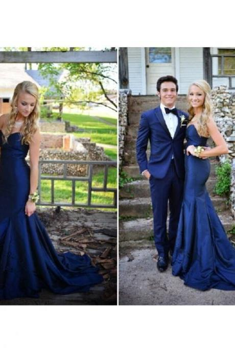 New Prom Dresses , Mermaid Prom Dresses , Dark Blue Prom Dresses , Gorgeous Sweetheart Prom Dresses , Sweep Train Prom Gowns,PD1700706