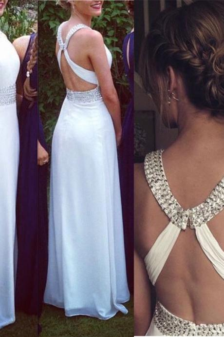 Fashion White Prom Dress , Shiny Beading Prom Dress , Sexy X Back White Prom Dress , A-Line Floor Length Long Prom Dress,PD1700711