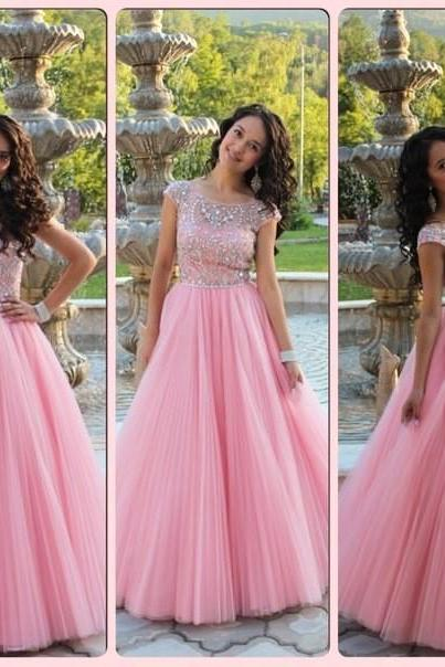 Cap Sleeves Prom Dress, Princess Style Pink Prom Dress , Shiny Beading Top Prom Dress , A-Line Floor Length Long Prom Dress,PD1700712