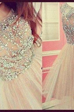 Real Image Sexy Prom Dresses Bling Luxury Sparkle White/Pink A-Line Sheer Neck Beads Rhinestones Crystals Lace Up Mini Short Formal Evening Party Gowns,PD1700739