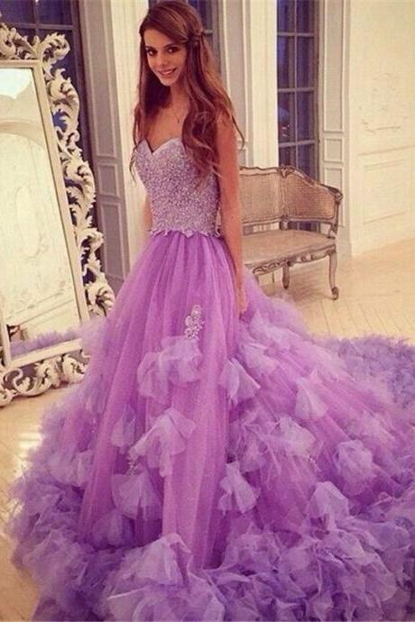 Sparkling Beaded Prom Dresses 2017 Sweetheart Neck A Line Hand Made Ruffle Court Train Lavender Evening Party Dresses,PD1700741