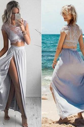Elegant Long Prom Dresses,Cap Sleeves Prom Dresses,Two Piece Prom Dresses,With Slit Prom Dresses,Lace Prom Dresses,PD1700747
