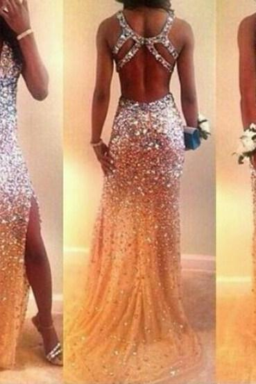 backless prom dresses, Rhinestone prom dresses, Mermaid prom dresses, prom dresses 2016, cheap prom dresses, PD1700785