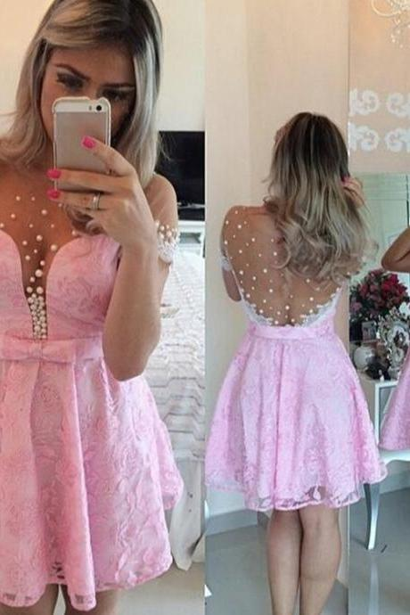 Short Homecoming Dress, Short Sleeve Homecoming Dress, Pink Homecoming Dress, Illusion Neck Homecoming Dress, Sheer Back Homecoming Dress, A-line Homecoming Dress, Pearls Homecoming Dress, Party dress, A-line Party Dress, Short Party Dress,PD1700792