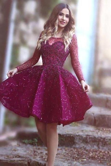 Homecoming Dress, Long Sleeve Homecoming Dress, Short Homecoming Dress, Beading Homecoming Dress, A-line Homecoming Dress, Party Dress, Short Party Dress, A-line Party Dress,PD1700793