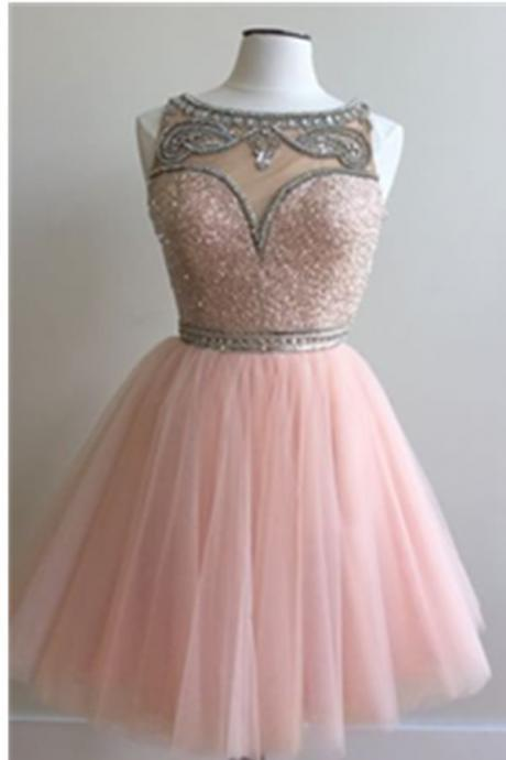 Pink A-line Beaded Tulle Homecoming Dresses,Modest Short Prom Dresses,Party Dresses,PD160806