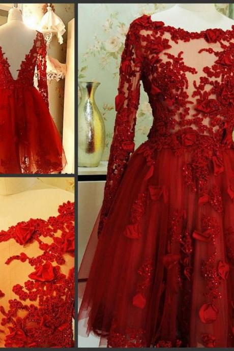 Charming Prom Dress,Appliques Prom Dress,Long-Sleeves Prom Dress,Tulle prom Dress,A-Line Evening Dress,PD160845