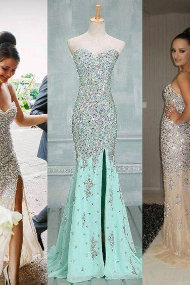 Charming Prom Dress,Sweetheart Prom Dress,Beading Prom Dress,Chiffon Dress,Mermaid Evening Dress,PD160856