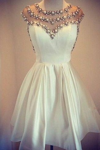 High Quality Homecoming Dress,Beading Homecoming Dress,O-Neck Graduation Dress,Lace Satin Prom Dress,PD160862