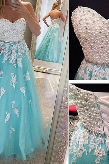 Blue Prom Gown,Lace Prom Gown,Sweetheart Prom Gown,Appliques Prom Gown,Beaded Prom Gown,Pearls Prom Gown,Long Prom Gown,Formal Prom Gown,Party Dress,PD897