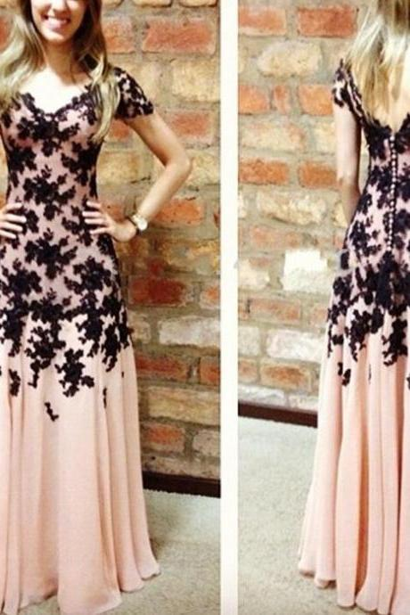 Elegant Prom Dress,Appliques Prom Dress,Pink Prom Dress,Lace Prom Dress,Short Sleeve Prom Dress,Long Prom Dress,Party Dress,PD899
