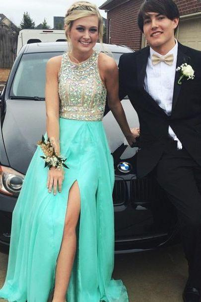 Prom Dress,Beaded Prom Dress,Side-Split Prom Dress,Floor-Length Chiffon Prom-Dresses with Rhinestones,PD9224