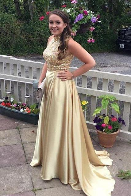 Beaded Champagne color Long Prom Dresses,Gorgeous Prom dress,Cheap prom dress,high quality prom dress,sexy prom dress,mermaid prom dress,PD928