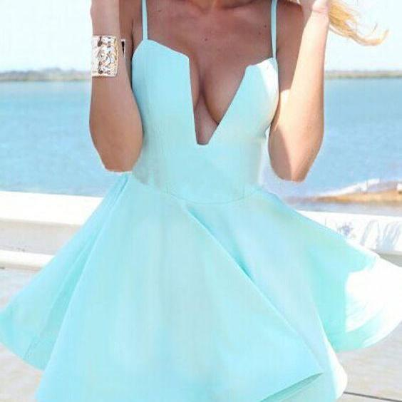 Mint homecoming dress,V-neck prom dress,satin prom dress, strap homecoming gowns,short prom gowns