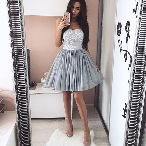 Gray white prom dress, sweetheart prom dress,strapless short prom gown,lace up homecoming gowns
