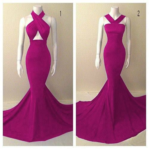 Hot pink prom dress, Mermaid long prom dress,high neck prom gown,spandex prom gowns