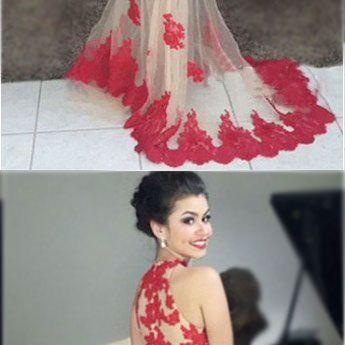 Red prom dress, Mermaid long prom dress,high neck prom gown,red lace qpplique prom gowns