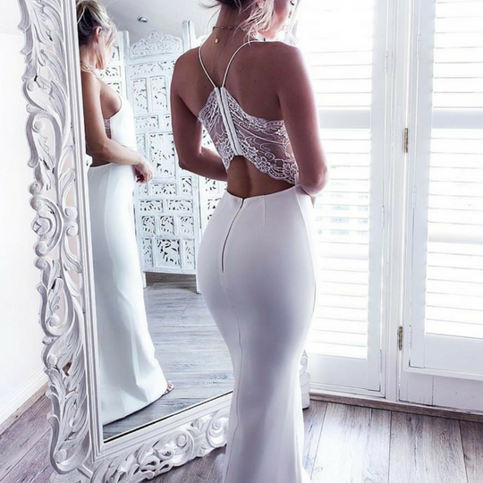 White prom dress, Mermaid long prom dress,backless prom gown,lace prom gowns