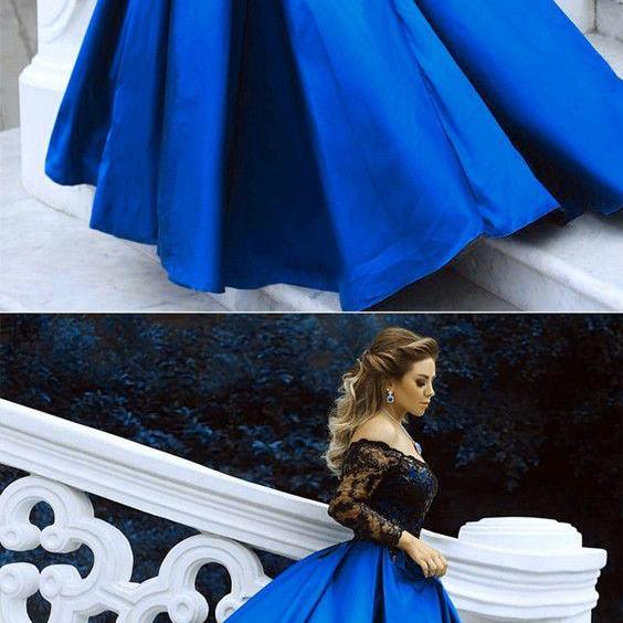 Black Lace Long Sleeves Prom Dresses Ball Gowns Off The Shoulder Evening Dresses 2018