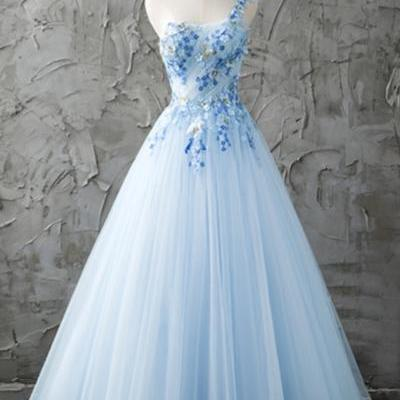 Fresh blue tulle one shoulder A-line long prom dress with appliques